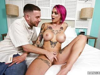 adult, big tits, cum, pussy, red head, tattoo