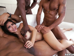 all-natural breasts, gangbang, group sex, interracial, latina, orgy