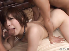 asian, busty, gangbang, japanese, shaved, threesome