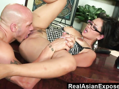 american, asian, girlfriend, glasses, office girls, office sex