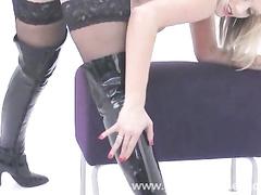 blonde, boots, fetish, individual model, lingerie, striptease