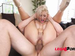 1 on 1, big tits, blonde, blowjob, creampie, deep throat