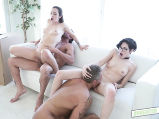 blowing, clothed sex, gangbang, group sex, orgy, panties