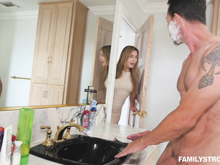 bathroom, naked girls, step family, wife
