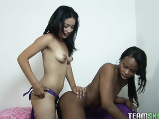 african american, ass licking, hairy, lesbian, small tits, strapon