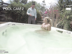 big tits, blonde, caught, masturbation