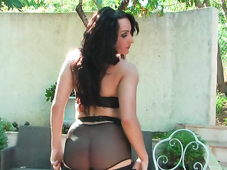 outdoor brunette striptease