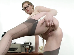 clothed sex, desk, office girls, pantyhose, public, vintage