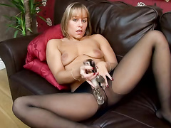 blonde, dildo, feet, orgasm, pantyhose, toys
