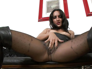 brunette nylon masturbation
