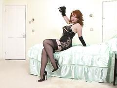 bedroom, insertions, pantyhose, red head, vintage