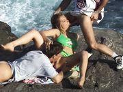 vintage beachfront threesome porn